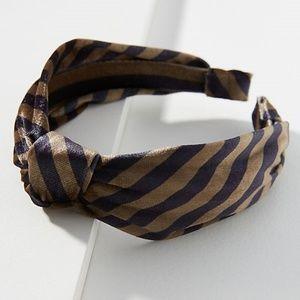 ANTHROPOLOGIE Olive + Black Stripe Piper Headband